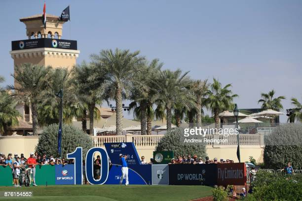 Dean Burmester of South Africa tees off on the 10th hole during the final round of the DP World Tour Championship at Jumeirah Golf Estates on...