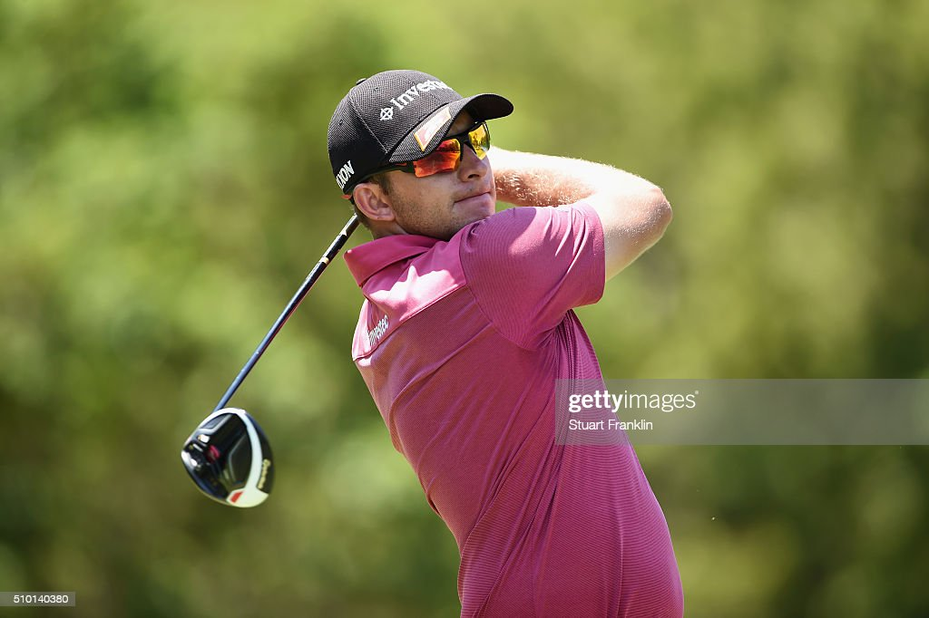 Dean Burmester of South Africa tees off on the 3rd hole during the final round of the Tshwane Open at Pretoria Country Club on February 14, 2016 in Pretoria, South Africa.