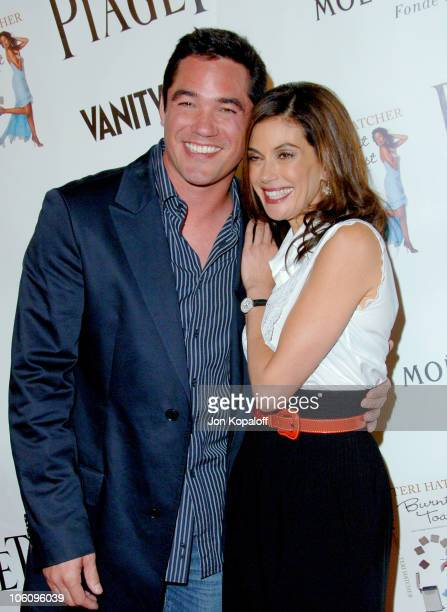 Dean Cain and Teri Hatcher during Teri Hatcher Party for Her Book 'Burnt Toast' Arrivals at AQUA Restaurant in Beverly Hills California United States