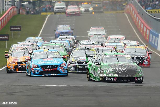 Dean Canto driver of the The BottleO Racing Ford leads at the start of the Bathurst 1000 which is race 25 of the V8 Supercars Championship at Mount...