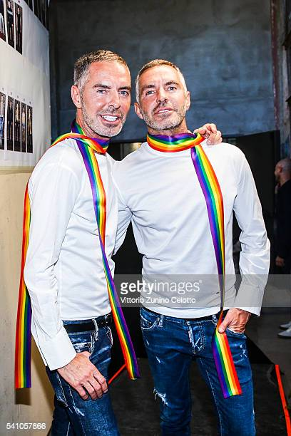 Dean Caten and Dan Caten are seen backstage ahead of the Dsquared2 show during Milan Men's Fashion Week Spring/Summer 2017 on June 17 2016 in Milan...