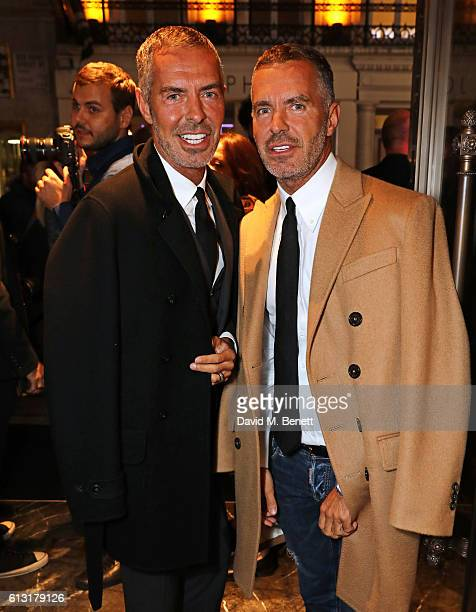 Dean Caten and Dan Caten attend the Moncler RCA 'Freeze For Frieze' cocktail reception at the Moncler Bond Street Boutique on October 7 2016 in...