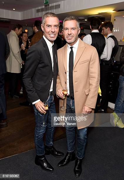Dean Caten and Dan Caten attend the OdeJo Launch Party at Harvey Nichols on March 17 2016 in London England