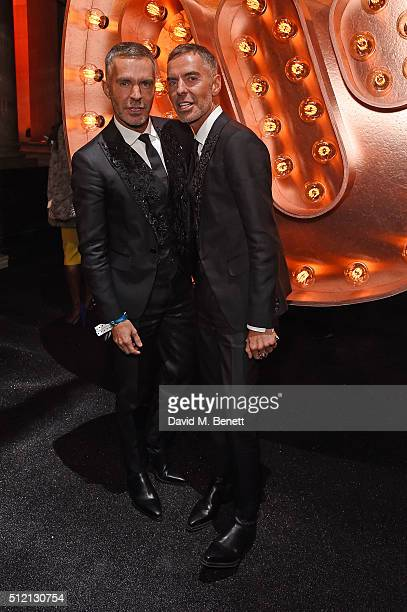 Dean Caten and Dan Caten attend the Warner Music Group Ciroc Vodka Brit Awards after party at Freemasons Hall on February 24 2016 in London England