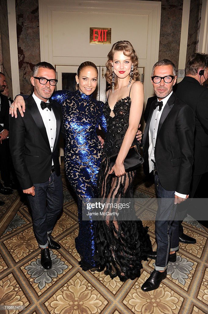 Dean Caten and Dan Caten of Dsquared2 pose with Jennifer Lopez and Lindsey Wixson at the 4th Annual amfAR Inspiration Gala New York at The Plaza Hotel on June 13, 2013 in New York City.