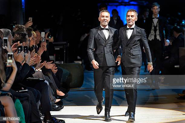 Dean Caten and Dan Caten walk the runway at the DSquared2 Autumn Winter 2015 fashion show during Milan Menswear Fashion Week on January 16 2015 in...