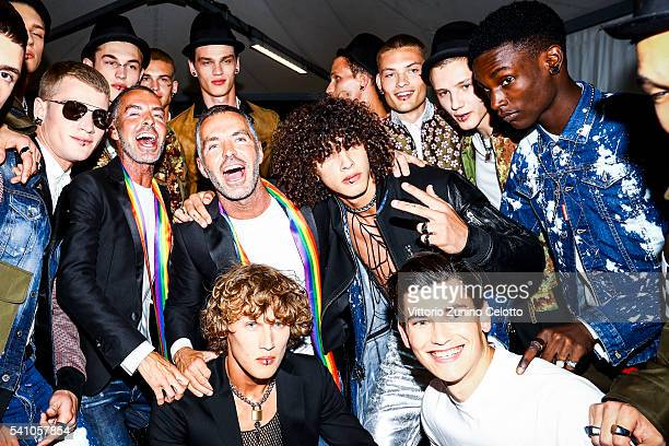 Dean Caten Dan Caten and models are seen backstage ahead of the Dsquared2 show during Milan Men's Fashion Week Spring/Summer 2017 on June 17 2016 in...
