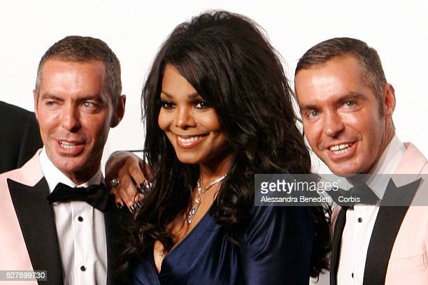 Dean Caten Janet Jackson and Dan Caten on the AmfAR Milano 2009 red carpet during the inaugural Milan Fashion Week event at La Permanente