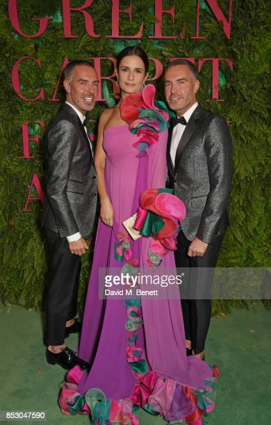 Dean Caten Livia Firth wearing Roberto Capucci for the Green Carpet Challenge and Dan Caten attend the Green Carpet Fashion Awards Italia at Teatro...