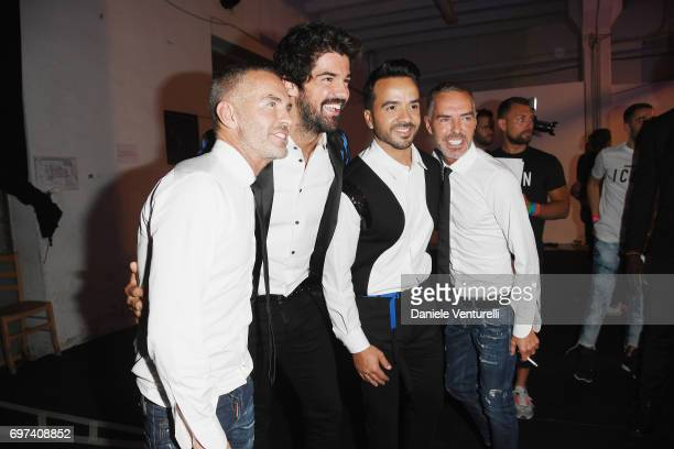 Dean Caten Miguel Angel Munoz Luis Fonsi and Dan Caten arrive at the Dsquared2 show during Milan Men's Fashion Week Spring/Summer 2018 on June 18...