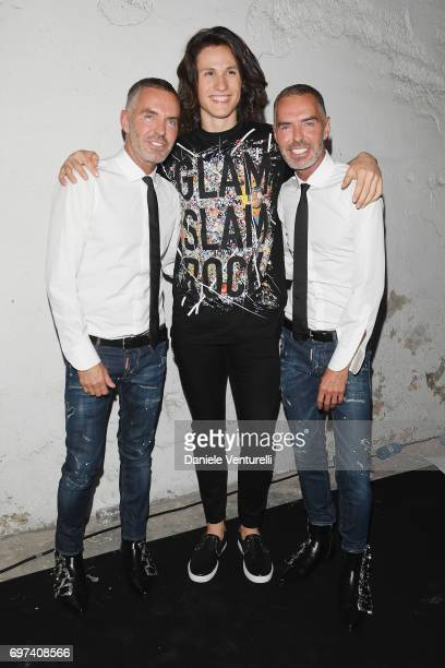 Dean Caten Sebastian Melo Taveira and Dan Caten arrive at the Dsquared2 show during Milan Men's Fashion Week Spring/Summer 2018 on June 18 2017 in...
