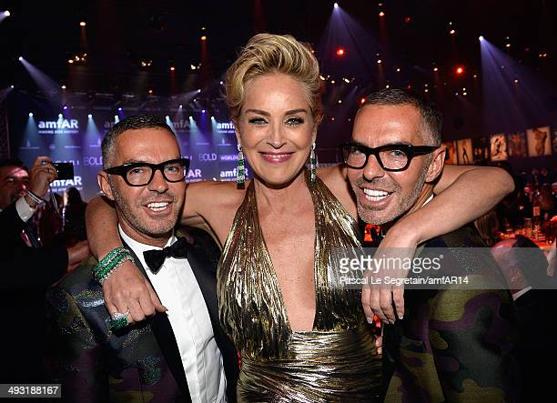 Dean Caten Sharon Stone and Dan Caten attend amfAR's 21st Cinema Against AIDS Gala Presented By WORLDVIEW BOLD FILMS And BVLGARI at Hotel du...