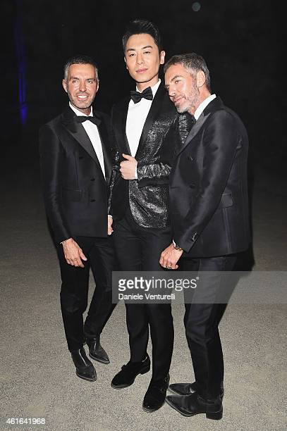 Dean Caten Ya Wen Zhu and Dan Caten attend the Dsquared2 during the Milan Menswear Fashion Week Fall Winter 2015/2016 on January 16 2015 in Milan...