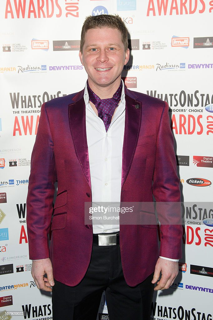 Dean Chisnall attends the Whatsonstage.com Theare Awards nominations launch at Cafe de Paris on December 7, 2012 in London, England.