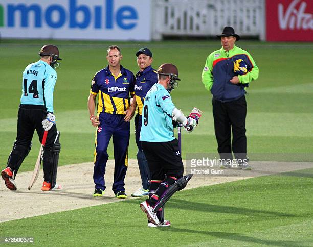 Dean Cosker of Glamorgan celebrates taking the wicket of Steven Davies of Surrey during the NatWest T20 blast match between Surrey and Glamorgan at...