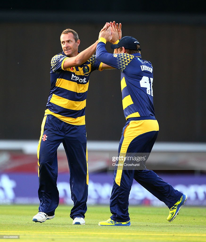 Dean Cosker of Glamorgan celebrates taking the wicket of Surrey's Thomas Curran during the Natwest T20 Blast match between Surrey and Glamorgan at The Kia Oval on May 26, 2016 in London, England.