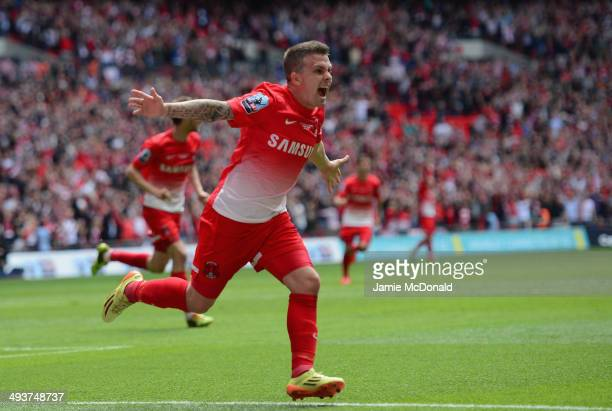 Dean Cox of Leyton Orient celebrates his goal during the Sky Bet League One Playoff Final between Leyton Orient and Rotherham United at Wembley...