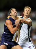 Dean Cox of the Eagles and Dean Brogan of the Power contest the ruck during the round two AFL match between the West Coast Eagles and Port Adelaide...