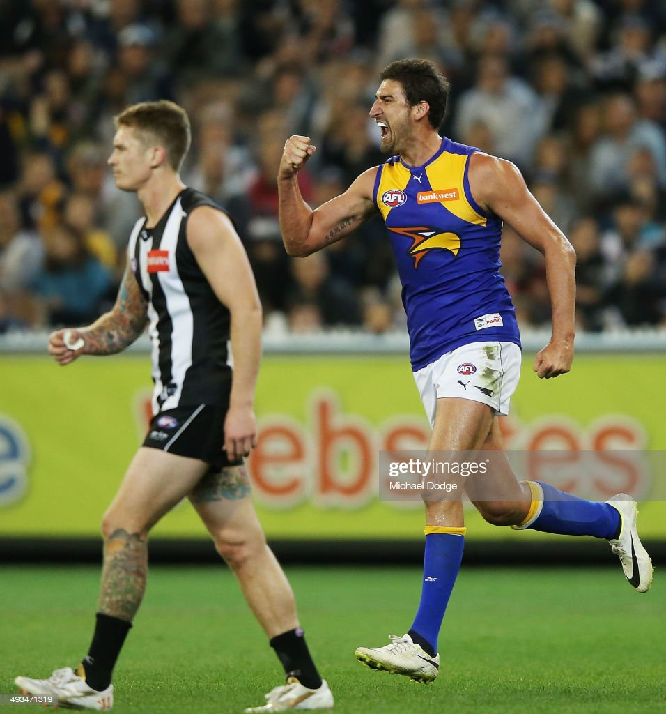 Dean Cox of the Eagles celebrates a goal during the round 10 AFL match between the Collingwood Magpies and West Coast Eagles at Melbourne Cricket Ground on May 24, 2014 in Melbourne, Australia.