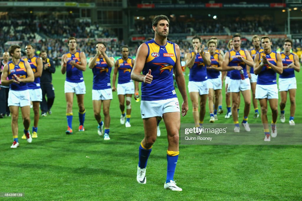 Dean Cox of the Eagles leaves the field after playing his 277th game during the round four AFL match between the Geelong Cats and the West Coast Eagles at Skilled Stadium on April 12, 2014 in Melbourne, Australia.