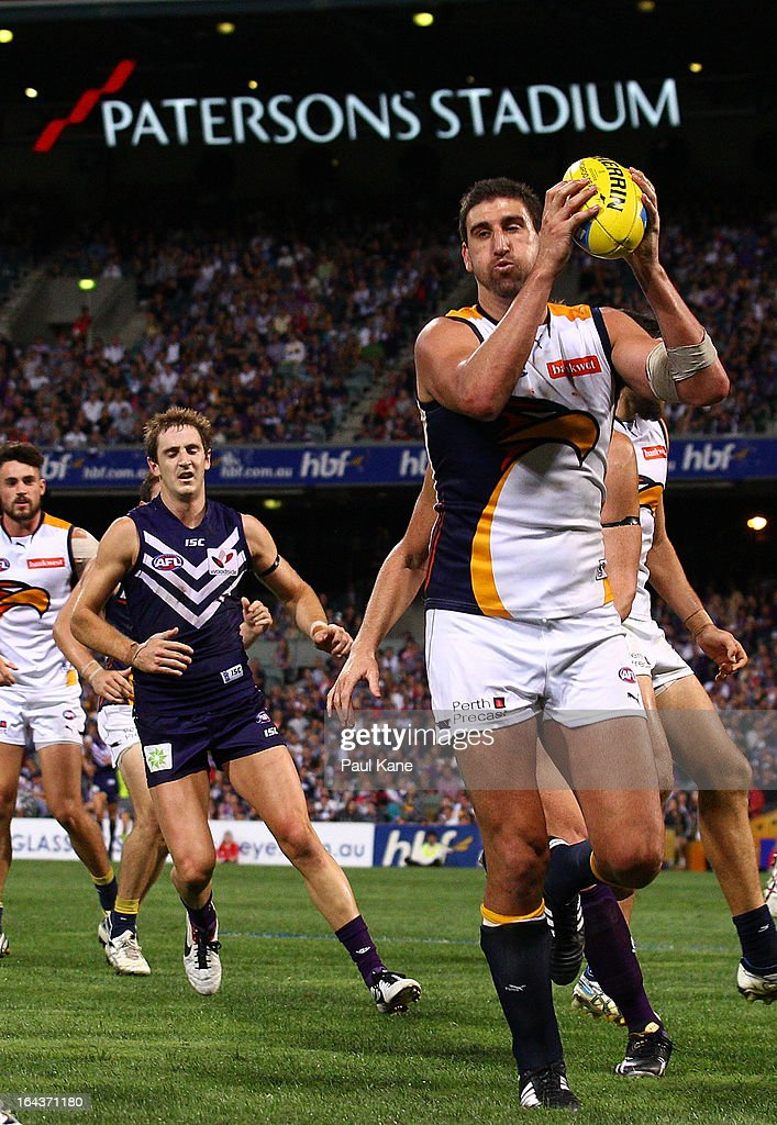 Dean Cox of the Eagles marks the ball during the round one AFL match between the Fremantle Dockers and the West Coast Eagles at Patersons Stadium on March 23, 2013 in Perth, Australia.