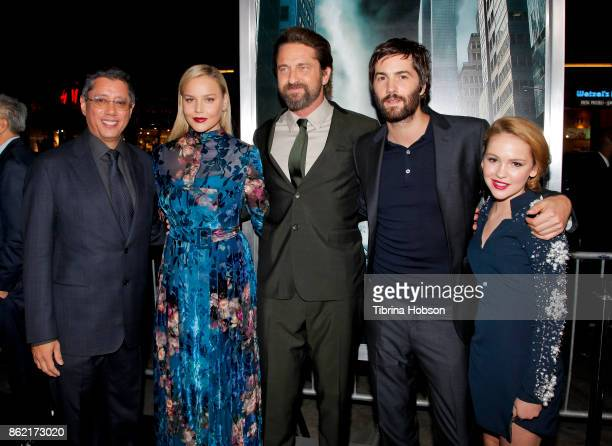 Dean Devlin Abbie Cornish Gerard Butler Jim Sturgess and Talitha Bateman attend the premiere of Warner Bros Pictures 'Geostorm' at TCL Chinese...