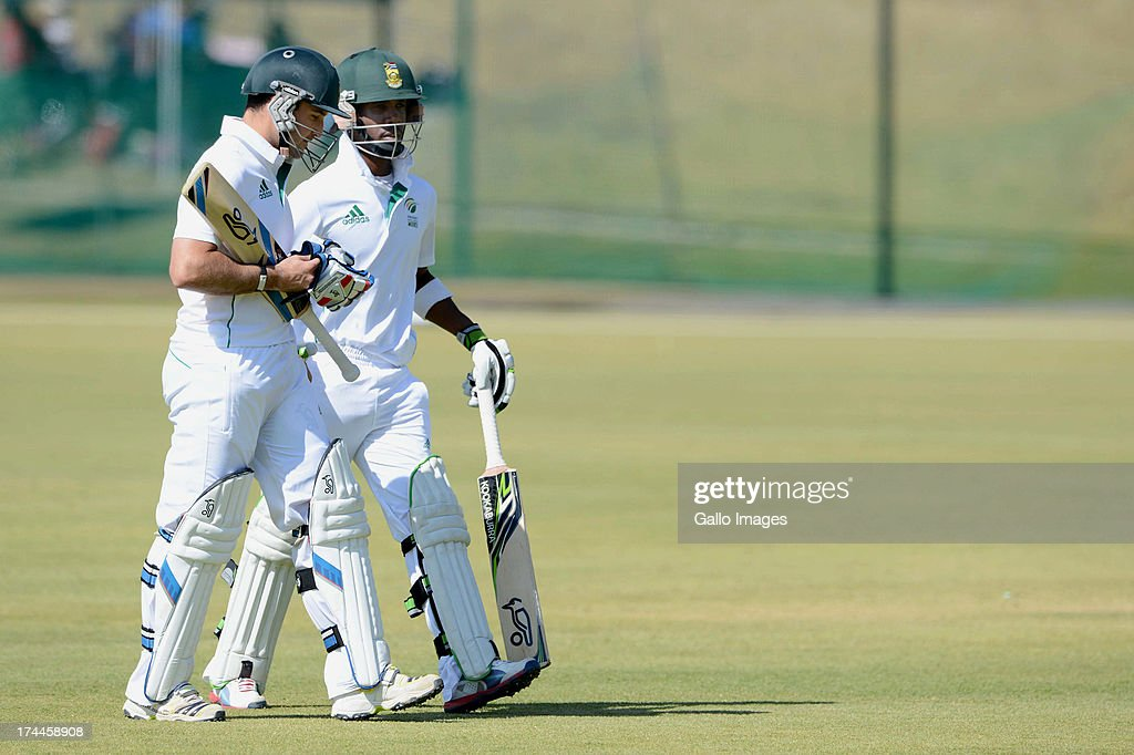 Dean Elgar and Thami Tsolekile of South Africa A during day 3 of the 1st Test match between South Africa A and Australia A at Tuks Oval on July 26, 2013 in Pretoria, South Africa.