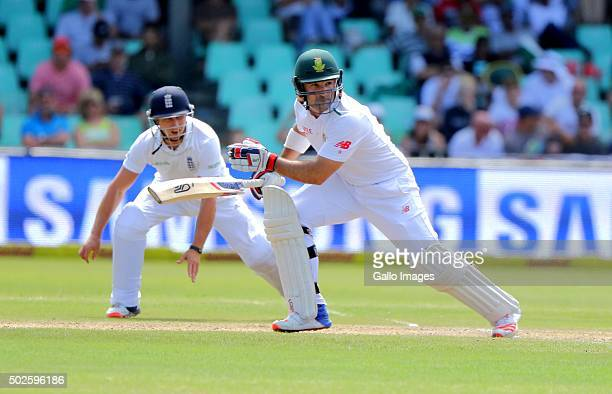 Dean Elgar bats during the day 2 of the 1st test match between South Africa and England at Sahara Stadium Kingsmead on December 27 2015 in Durban...