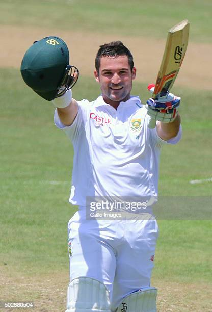 Dean Elgar celebrates his century during the day 3 of the 1st test match between South Africa and England at Sahara Stadium Kingsmead on December 28...