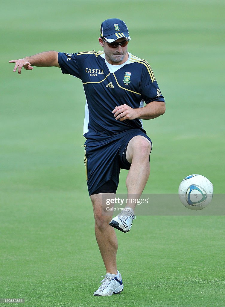 Dean Elgar during a South Africa National cricket team training session ahead of Graeme Smith's 100th Test as captain at Sandton City on January 29, 2013 in Johannesburg, South Africa.