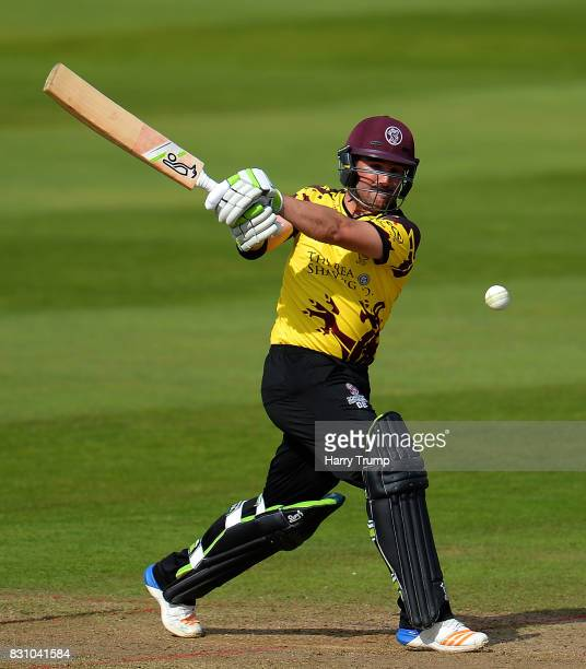 Dean Elgar of Somerset bats during the NatWest T20 Blast match between Somerset and Glamorgan at The Cooper Associates County Ground on August 13...