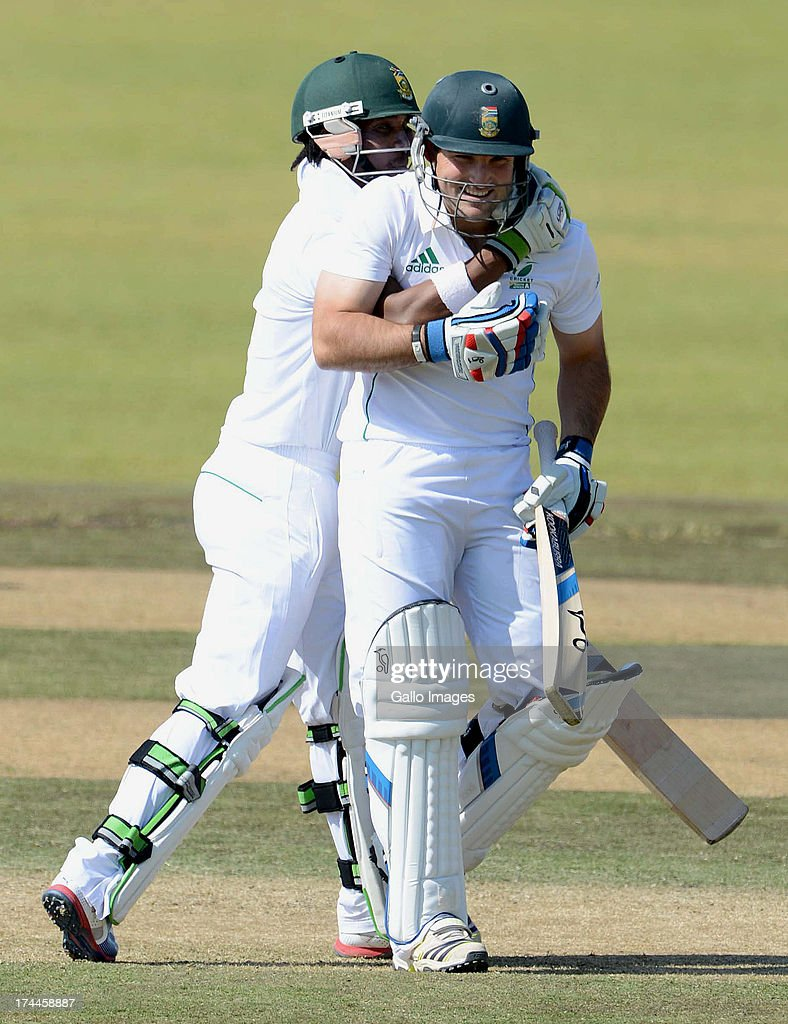 Dean Elgar of South Africa A celebrates his 200 runs with Thami Tsolekile of South Africa A during day 3 of the 1st Test match between South Africa A and Australia A at Tuks Oval on July 26, 2013 in Pretoria, South Africa.