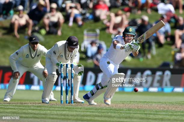 Dean Elgar of South Africa bats during day one of the First Test match between New Zealand and South Africa at University Oval on March 8 2017 in...