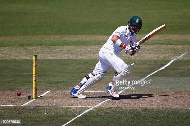 Dean Elgar of South Africa bats during day three of the 1st Test between South Africa and England at Sahara Stadium Kingsmead on December 28 2015 in...