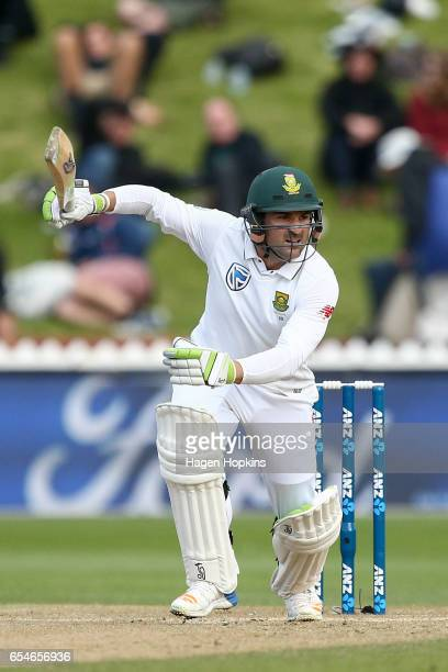 Dean Elgar of South Africa bats during day three of the test match between New Zealand and South Africa at Basin Reserve on March 18 2017 in...
