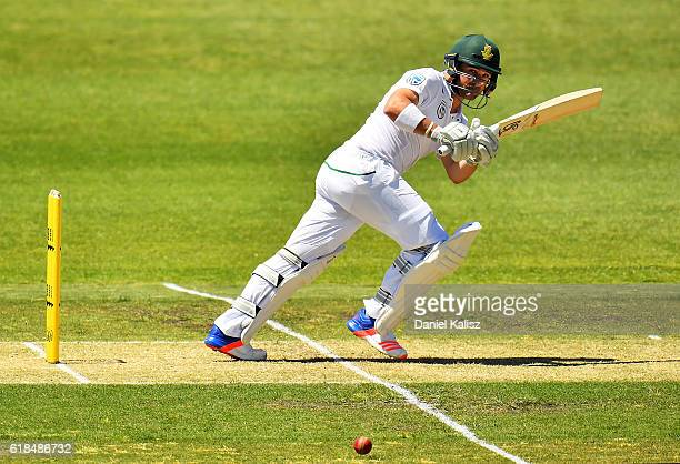 Dean Elgar of South Africa bats during the Tour match between South Australia and South Africa at Gliderol Oval on October 27 2016 in Adelaide...