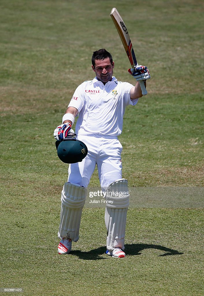 <a gi-track='captionPersonalityLinkClicked' href=/galleries/search?phrase=Dean+Elgar&family=editorial&specificpeople=8593375 ng-click='$event.stopPropagation()'>Dean Elgar</a> of South Africa celebrates his century during day three of the 1st Test between South Africa and England at Sahara Stadium Kingsmead on December 28, 2015 in Durban, South Africa.