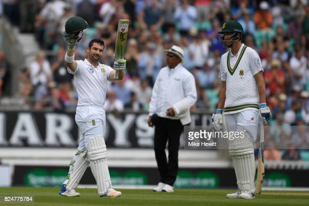 Dean Elgar of South Africa celebrates reaching his century during the 3rd Investec Test between England and South Africa at The Kia Oval on July 31...