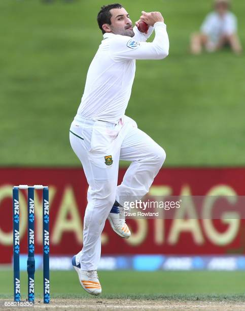 Dean Elgar of South Africa Dean Elgarbowls during day three of the Test match between New Zealand and South Africa at Seddon Park on March 27 2017 in...