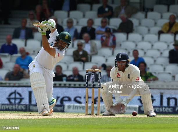 Dean Elgar of South Africa during the International Test Match Series Day fIVE match between England and South Africa at The Kia Oval Ground in...