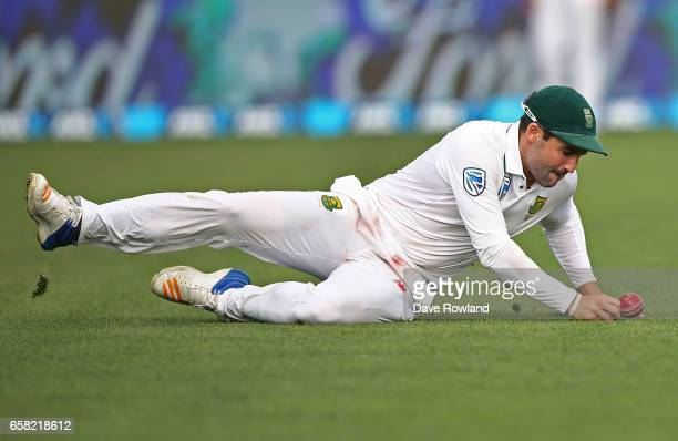 Dean Elgar of South Africa fields during day three of the Test match between New Zealand and South Africa at Seddon Park on March 27 2017 in Hamilton...