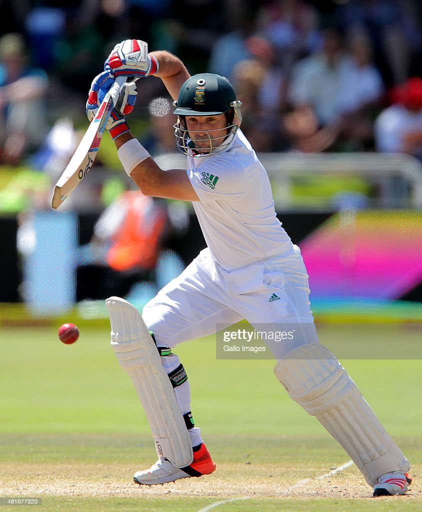 <a gi-track='captionPersonalityLinkClicked' href=/galleries/search?phrase=Dean+Elgar&family=editorial&specificpeople=8593375 ng-click='$event.stopPropagation()'>Dean Elgar</a> of South Africa in action during day 5 of the 3rd Test between South Africa and West Indies at Sahara Park Newlands on January 06, 2015 in Cape Town, South Africa.