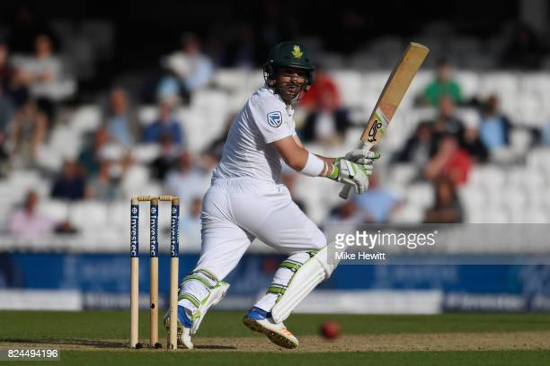 Dean Elgar of South Africa in action during Day Four of the 3rd Investec Test between England and South Africa at The Kia Oval on July 30 2017 in...