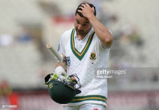 Dean Elgar of South Africa leaves the field after being dismissed during the fourth day of the 4th Investec Test match between England and South...