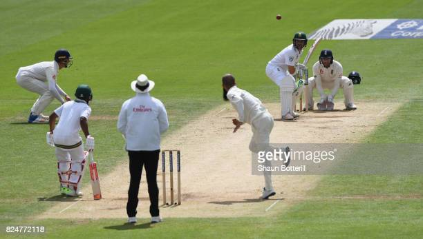 Dean Elgar of South Africa plays a shot off the bowling of Moeen Ali of England during day five of the 3rd Investec Test match between England and...