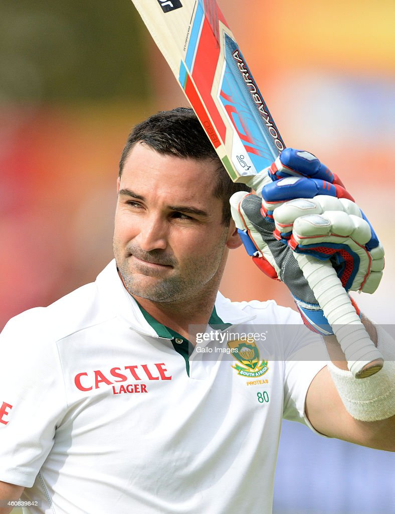 <a gi-track='captionPersonalityLinkClicked' href=/galleries/search?phrase=Dean+Elgar&family=editorial&specificpeople=8593375 ng-click='$event.stopPropagation()'>Dean Elgar</a> of South Africa walks off for 121 runs during day 1 of the 2nd Test match between South Africa and West Indies at St. Georges Park on December 26, 2014 in Port Elizabeth, South Africa.