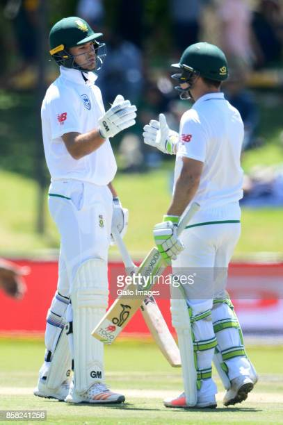 Dean Elgar of the Proteas celebrates his 50 runs with Aiden Markram of the Proteas during day 1 of the 2nd Sunfoil Test match between South Africa...