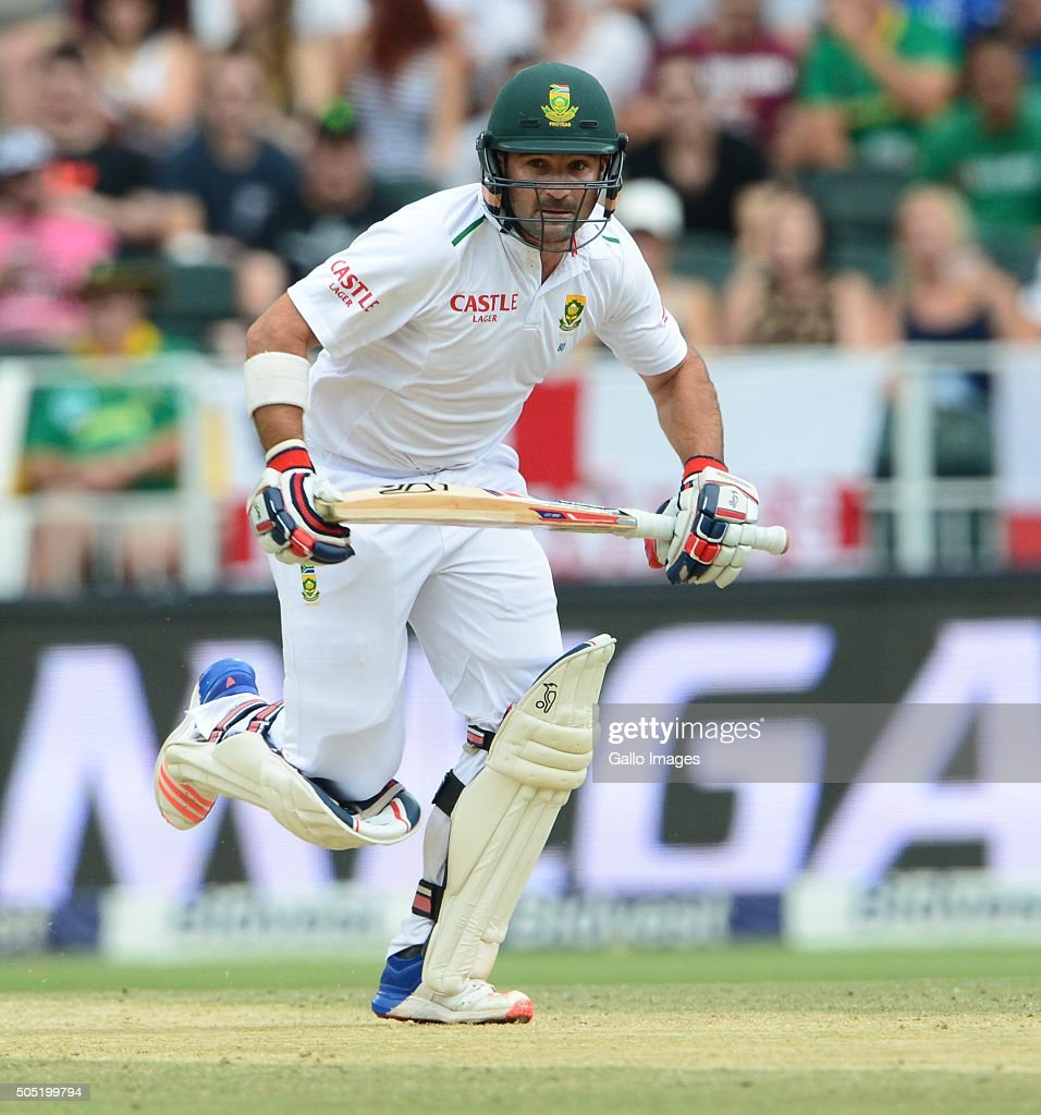 <a gi-track='captionPersonalityLinkClicked' href=/galleries/search?phrase=Dean+Elgar&family=editorial&specificpeople=8593375 ng-click='$event.stopPropagation()'>Dean Elgar</a> of the Proteas during day 3 of the 3rd Test match between South Africa and England at Bidvest Wanderers Stadium on January 16, 2016 in Johannesburg, South Africa.