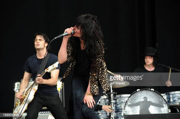 Dean Fertita Alison Mosshart Jack White and Jack Lawrence of The Dead Weather performs onstage during Bonnaroo 2010 at What Stage on June 12 2010 in...