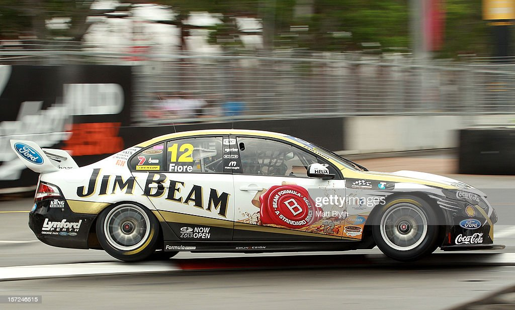 Dean Fiore drives the #12 Jim Beam Racing Ford during qualifying for the Sydney 500, which is round 15 of the V8 Supercars Championship Series at Sydney Olympic Park Street Circuit on December 1, 2012 in Sydney, Australia.